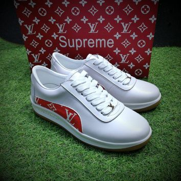 Best Online Sale LV x Supreme x McQueen Fashion White / Red Sneaker Casual Shoes - 9051