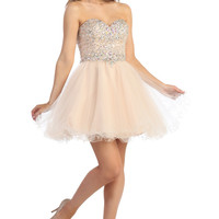 Strapless Two Tone Short Tulle Prom Dress