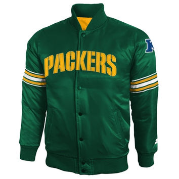 Starter Green Bay Packers Youth Satin Varsity Full Button Jacket - Green - http://www.shareasale.com/m-pr.cfm?merchantID=7124&userID=1042934&productID=525021030 / Green Bay Packers