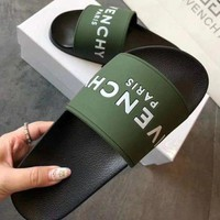 Givenchy Trending Woman Men Simple Summer Beach Slipper Sandals Shoes Green I
