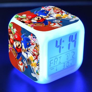 Super Sonic Anime Figurines LED Clock Alarm Colorful Flash Light Thermometer Sonic The Hedgehog Game Figure Toys