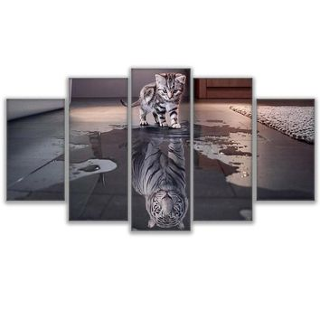 5 Panel Animal Cat Kitty New Cuadros Tiger Reflection Wall Art Panel Picture