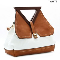 Royal Lizzy Couture Triangle Wooden Handle Tote - WHITE