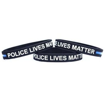 Thin Blue Line Silicone Wristband Police Bracelet Law