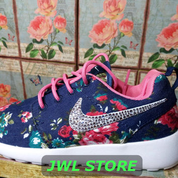 wmns custom nike roshe run shoes with fabric floral blue jeans color sneakers blinged with swarovski rhinestones athletic shoes