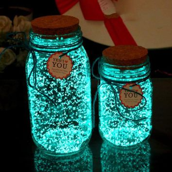 Blue Green Fluorescent Glow in the Dark Bright Bottle 10g Luminous Power Night Party Decoration DIY Paint Star Wishing Particles