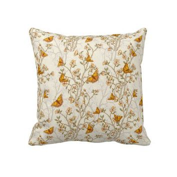 Floral Vintage Pattern with Butterflies Throw Pillow from Zazzle.com