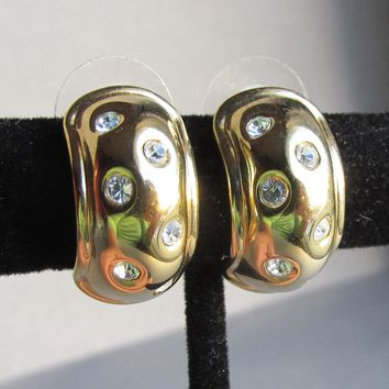 Signed Nolan Miller Vintage Chubby Half Hoop CZ Pierced Earrings
