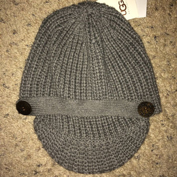 Sale!! UGG Australia women's Belted Cardy Visor beanie hat in Heather Gray