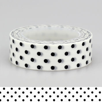 Adhesive Tape Solid Plain Color Black White dots set Print Scrapbooking DIY Craft Sticky Deco Masking Japanese Paper Washi Tape