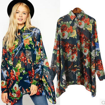 Summer Women's Fashion Long Sleeve Blouse [6514155079]