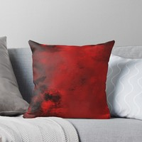 'Red and Black Abstract ' Throw Pillow by moonfluff