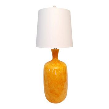 Vintage Orange Drip Glaze Table Lamp & Shade