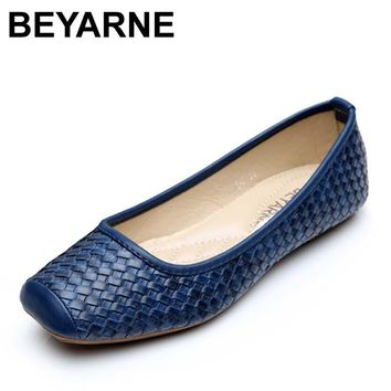 BEYARNE High quality women single shoes leather office work shoes female spring flat nurse shoes ballet flats woman moccasins