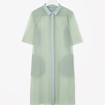 Translucent shirt dress