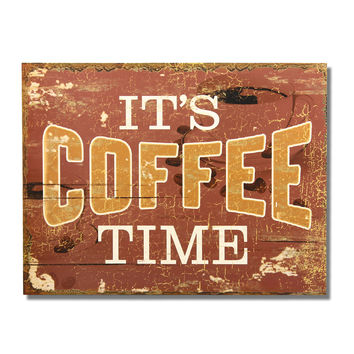 """Decorative Wood Wall Hanging Sign Plaque """"It's Coffee Time"""" Brown Gold White Home Decor"""