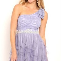Short One Shoulder Homecoming Dress with Bow and Stone Trim