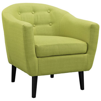 Modway Wit Armchair in Button Tufted Wheatgrass Fabric on Wood Legs
