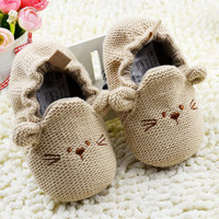 0-18M Infant Toddler Baby Newborn Boy Girl Knitted Crib Shoes Cartoon Elastic First Walkers