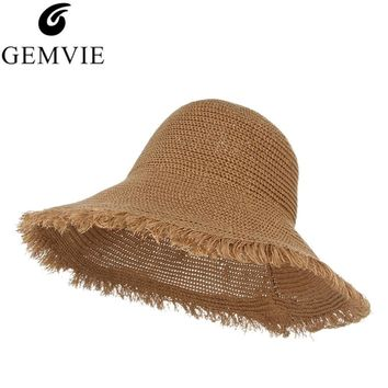 784a252ad7a Elegant Lady Beach Cap Foldable Floppy Wide Brim Straw Hat Handm