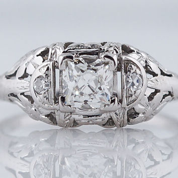 Antique Engagement Ring Art Deco .45ct French Cut Diamond in 18k White Gold
