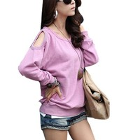 Women Casual Cut Out Shoulder Top Raglan Sleeve Sweatshirt