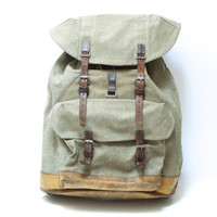 SWISS ARMY BACKPACK from 1967, Vintage Military Leather and Canvas Bag, 'Salt & Pepper' Fabric, Large Rugged Men's Rucksack from Switzerland