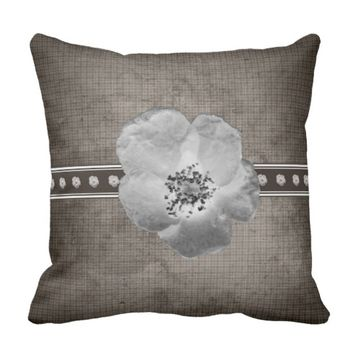 Rustic Plaid Flower Pillow