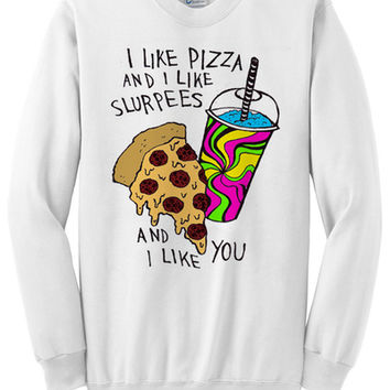Pizza and Slurpee Love Crewneck Sweater