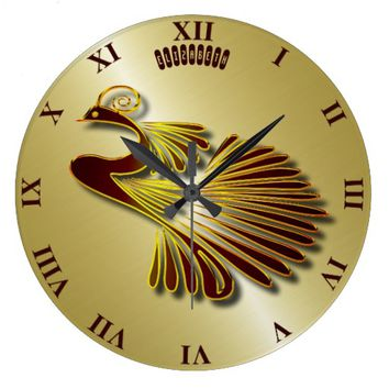 Golden Chocolate Jewel Peacock With Gold Shadows Large Clock