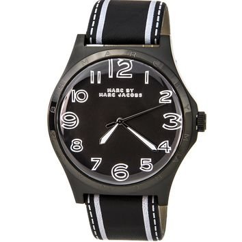 Marc by Marc Jacobs MBM1233 Women's Henry Black Dial Black IP Steel Black Leather Strap Watch
