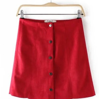Retro Red Suede Mini Skirt