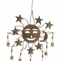 "Metal Glass SUN WINDCHIME 14""W 22""H"