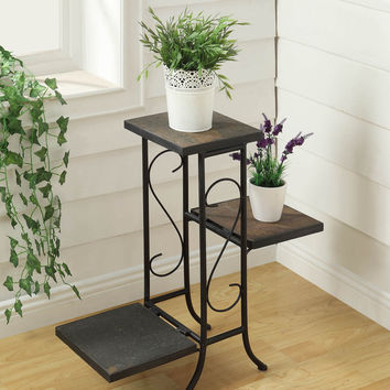 Michael Anthony Furniture 3 Tier Plant Stand W/ Slate Top