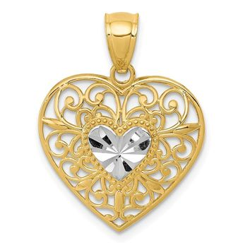 14k Yellow Gold and White Rhodium Filigree Heart Pendant, 17mm