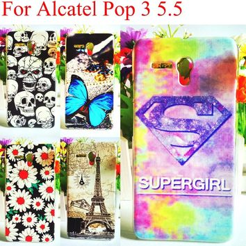 "10 Patterns Alcatel Pop 3 Case ,Colorful Phone Cases For Alcatel One Touch Pop 3 5.5"" 5025D 5025 Skin Plastic Back Cover Shell"