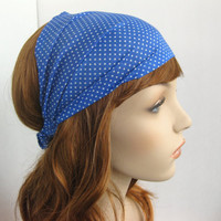 Children's Polka Dot Headband Head Wrap Bandana Sky Blue Retro Inspired