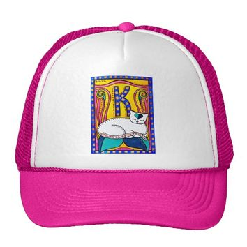 Peace And Love Valentine Cat Design Trucker Hat