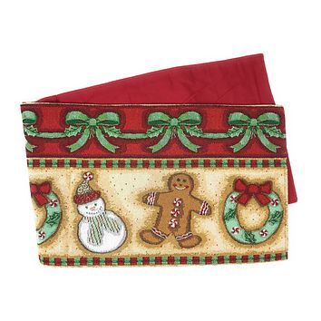 DaDa Bedding Gingerbread Sweets Table Runner, Holiday Cookies Tapestry (12917)
