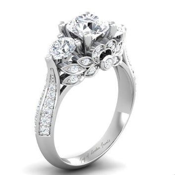 A Museum Perfect 2CT Russian Lab Diamond Engagement Promise Wedding Floral Lotus Ring