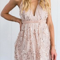 Golden Patchwork Cross Back Sequin Plunging Neckline Lace Up Glitter Sparkly Mini Dress