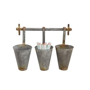 Rustic Metal Wall Rack with 3 Hanging Tin Pots -- 15-1/4-in