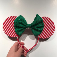 Red, White, and Green Christmas Mouse Ears