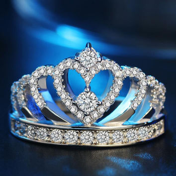Women 925 Sterling Silver Crown Ring with CZ