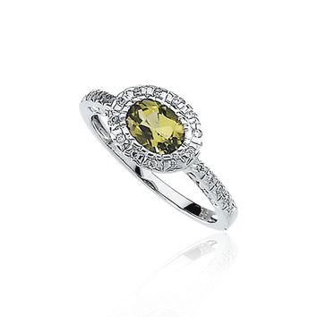9/10 Ct Oval Peridot and 1/10 Ctw Diamond Ring in 14K White Gold