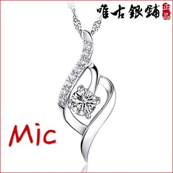 925 Gift Silver Heart Love Pendant Swarovski Element Chain Cryst 637486bc9e