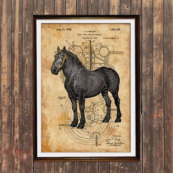 Horse decor Animal poster Patent print Steampunk print SOL131