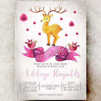 Deer Baby shower invitation girl printable, baby shower invitation girl, unique baby shower invitations, baby girl shower invitation