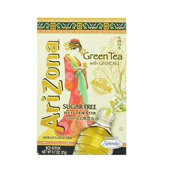 Arizona Sugar Free Green Iced Tea With Ginseng Stix (12x10 Ct)