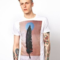 Supremebeing X WCP T-Shirt By Blaine Fontana Feather Print at asos.com